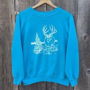 VTG 80s Buck Deer Screenprint Crewneck Sweatshirt